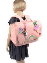 Cartable Midi 2 Compartiments Jeune premier Rose daydream girls G-vue-porte