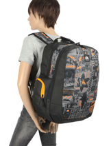 Backpack Schoolie 2 Compartments Quiksilver Gray youth access kids QBBP3041-vue-porte