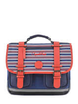 Satchel For Boys 2 Compartments Cameleon Blue vintage print boy VIB-CA35