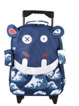 Wheeled Backpack 1 Compartment Les deglingos Blue globe trotoys 316
