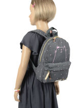 Backpack Cat 1 Compartment Kidzroom Gray starstruck 9809-vue-porte