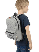 Backpack Mickey 1 Compartment Mickey and minnie mouse Gray fashion 897-vue-porte