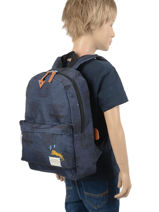 Sac A Dos 1 Compartiment Skooter Bleu in your face 315-vue-porte