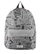 Backpack Sketch 1 Compartment Mickey and minnie mouse Gray fashion 894
