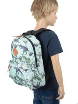 Backpack Dinosaurs 1 Compartment Skooter Blue dino 9865-vue-porte
