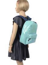 Backpack Glitter 1 Compartment Milky kiss Blue glitter 678-vue-porte