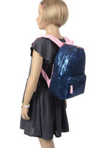 Backpack Glitter 1 Compartment Milky kiss Blue glitter 679-vue-porte