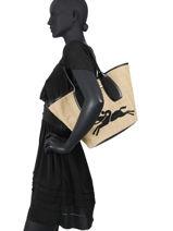 Longchamp Roseau paille Besaces Marron-vue-porte