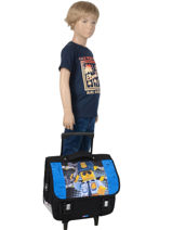 Satchel With Wheels 2 Compartments Lego Blue city police chopper 3-vue-porte