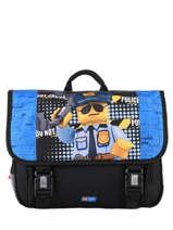 Cartable 2 Compartiments Lego Bleu city police chopper 3