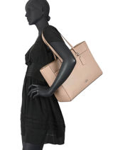 Sac Porte Epaule Folio Tote Leather Coach Beige folio tote 78246-vue-porte