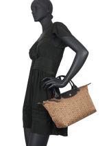 Longchamp Le pliage microknit Sacs porté main Marron-vue-porte