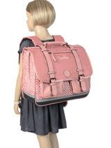 Satchel For Girls 3 Compartments Cameleon Pink vintage print girl VIG-CA41-vue-porte