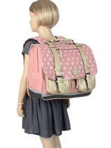 Satchel For Girls 3 Compartments Cameleon Pink vintage fantasy VIG-CA41-vue-porte