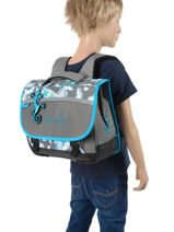 Satchel For Kids 2 Compartments Cameleon Gray basic BAS-CA35-vue-porte