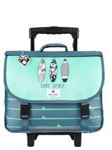 Satchel With Wheels 2 Compartments Reversible Pol fox Blue garcon GTCA38R