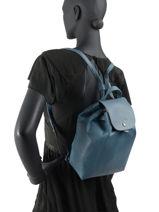 Longchamp Le pliage cuir Sac à dos Blanc-vue-porte