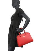 Leather Handbag City Philos Lancaster Red city philos 80-vue-porte