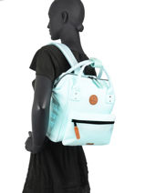Backpack S 1 Compartment Cabaia Blue tour du monde S-vue-porte