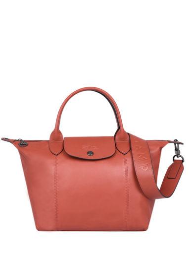 Longchamp Le pliage cuir Sacs porté main Orange