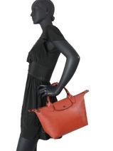 Longchamp Le pliage cuir Sacs porté main Orange-vue-porte