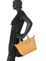 Longchamp Le pliage cuir Sacs porté main Jaune-vue-porte