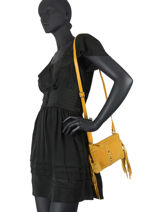 Suede Leather Crossbody Bag Festival Burkely Yellow festival bag 25-vue-porte