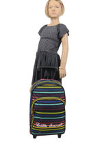 Wheeled Backpack Stripes Little marcel Black school 8870-vue-porte