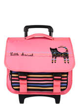 Cartable A Roulettes 2 Compartiments Little marcel Pink school 330120TR