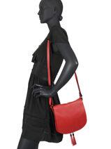 Shoulder Bag  Leather Milano Red 145N-vue-porte