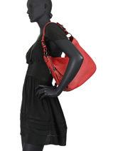 Leather Caviar Shoulder Bag Milano Red CA20076N-vue-porte