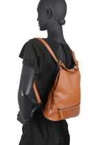 Leather Caviar Backpack Milano Brown CA20065N-vue-porte