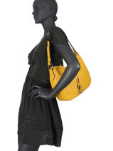 Leather Caviar Shoulder Bag Milano Yellow CA19112N-vue-porte