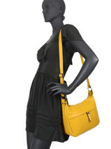 Leather Caviar Crossbody Bag Milano Yellow CA20075N-vue-porte