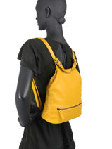 Leather Caviar Backpack Milano Yellow CA20065N-vue-porte