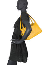 Leather Caviar Shoulder Bag Milano Yellow CA20077N-vue-porte