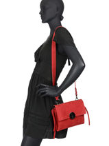 Leather Velvet Shoulder Bag Milano Red velvet VE20071-vue-porte