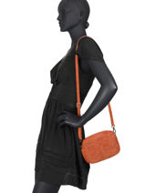 Sac Bandoulière Velvet Cuir Milano Orange velvet VE19111-vue-porte