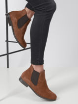 Suede leather ankle boots-TAMARIS-vue-porte