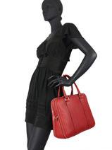 Leather Briefcase 3 Compartments Caviar Milano Red caviar CA19121-vue-porte