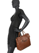 Leather Collins Tote Bag Biba Brown collins FOW3L-vue-porte