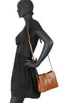 Leather Crossbody Bag Croco Milano Brown croco CR19112N-vue-porte