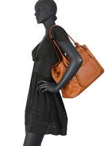Leather Dewashed Shoulder Bag Milano Brown dewashed DE20073-vue-porte