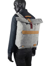 """Roll-top Backpack Tricolor With 15"""" Laptop Sleeve Faguo Gray tricolor 20LU0901-vue-porte"""