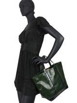 Leather Tote Bag Sequins Vanessa bruno Green cabas cuir 2V40413-vue-porte