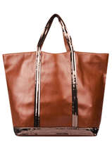 Leather Tote Bag Le Cabas Sequins Vanessa bruno Brown cabas cuir ZV40414