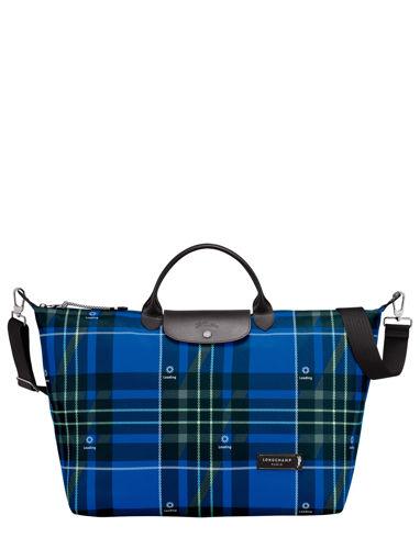 Longchamp Green district printed Sacs de voyage Bleu