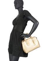 Saffiano Leather Crosshatch Top-handle Bag Lauren ralph lauren Gold crosshatch 31802426-vue-porte