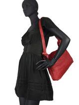 Leather Cow Shoulder Bag Basilic pepper Red cow BCOW35-vue-porte