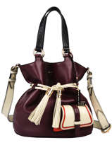Medium Leather Bucket Bag Premier Flirt Lancel Violet premier flirt A10531